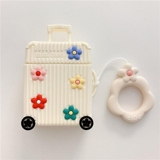 Ivory Suitcase with Flowers Premium AirPods Case Shock Proof Cover-iAccessorize