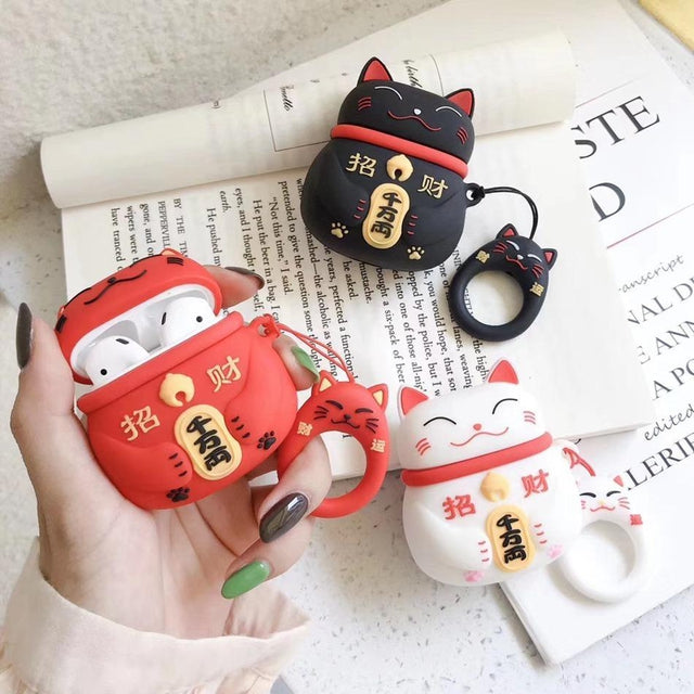 Japanese Maneki-Neko 'Red Cat' Premium AirPods Case Shock Proof Cover-iAccessorize