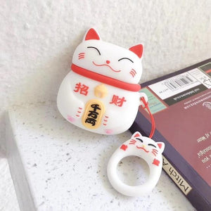 Japanese Maneki-Neko 'White Cat' Premium AirPods Case Shock Proof Cover-iAccessorize