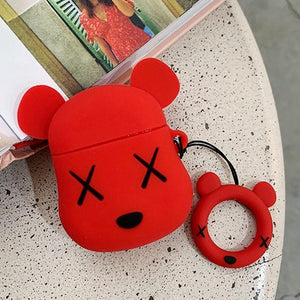 KAWS Red Bear Premium AirPods Case Shock Proof Cover-iAccessorize