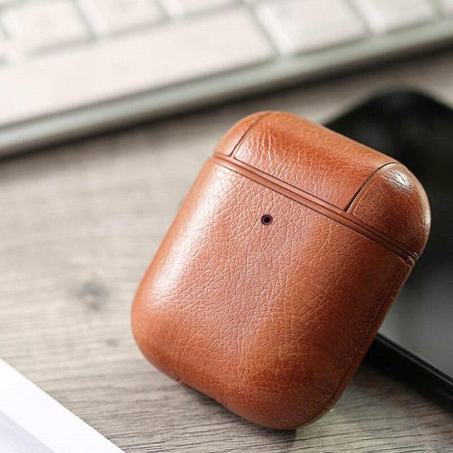 Light Brown Leather AirPods Case Shock Proof Cover-iAccessorize
