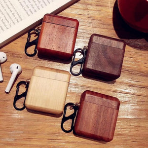 Mahogany Wood AirPods Case Shock Proof Cover-iAccessorize