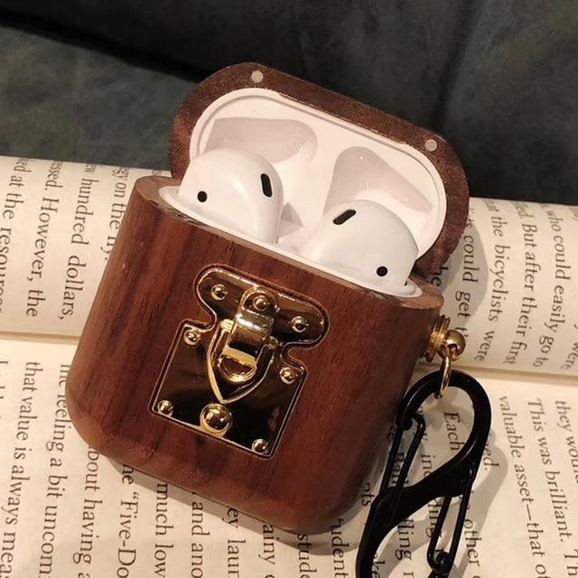 Mahogany Wood with Gold Clasp AirPods Case Shock Proof Cover-iAccessorize