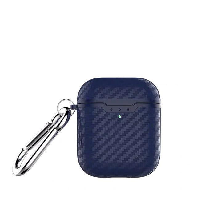 Navy Carbon Fiber Airpod 2 Case Wirless Charging Shock Proof Cover-iAccessorize