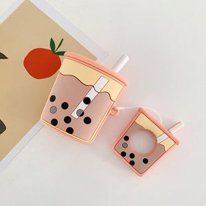 Orange Bubble Tea AirPods Case Shock Proof Cover-iAccessorize