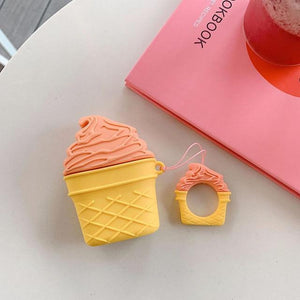 Orange Sorbet Ice Cream Cone Premium AirPods Case Shock Proof Cover-iAccessorize