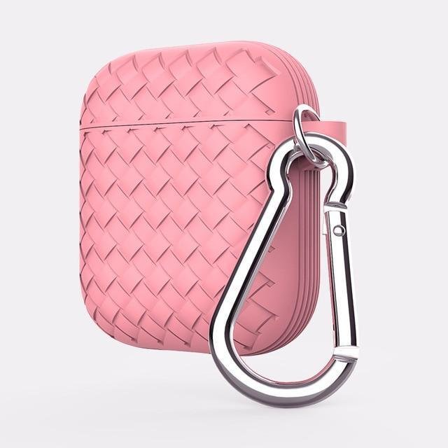 Pink Basket Weave AirPods Case Shock Proof Cover-iAccessorize