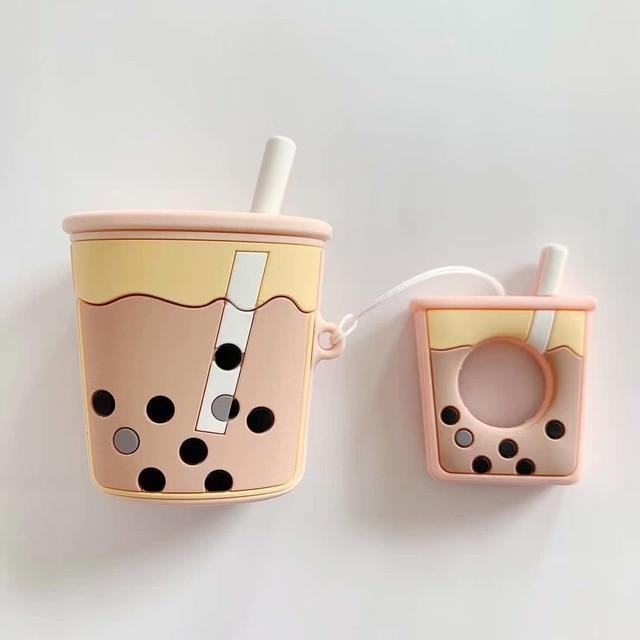 Pink Bubble Tea AirPods Case Shock Proof Cover-iAccessorize