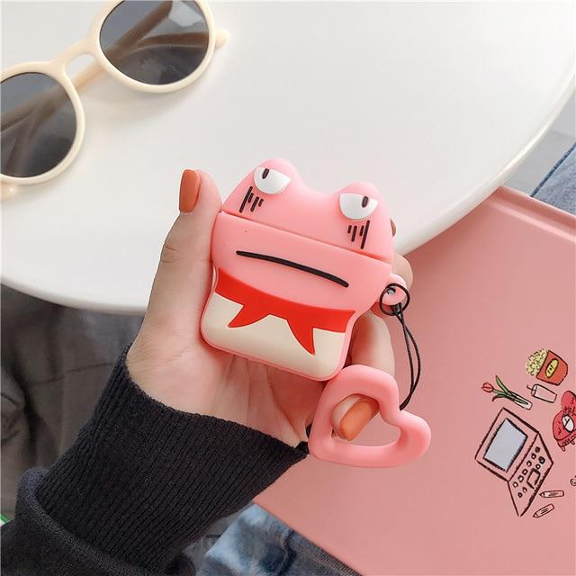 Pink Grumpy Frog AirPods Case Shock Proof Cover-iAccessorize