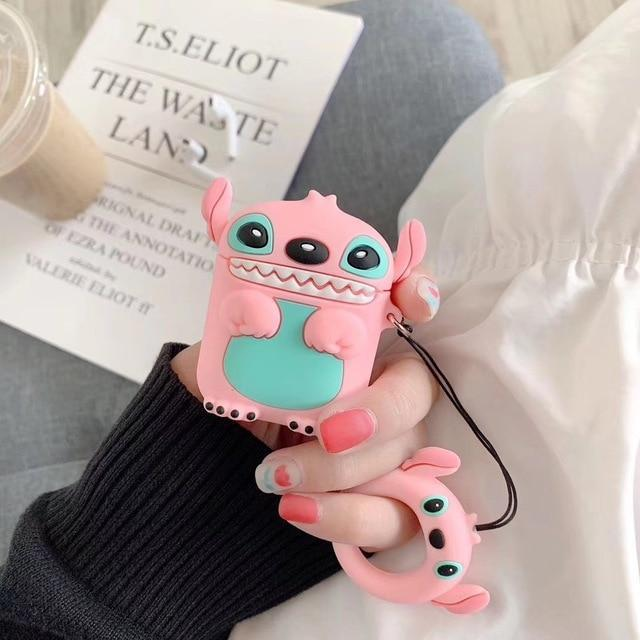 Pink Lilo and Stitch Premium AirPods Case Shock Proof Cover-iAccessorize