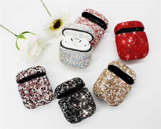 Pink Rhinestone AirPods Case Shock Proof Cover-iAccessorize