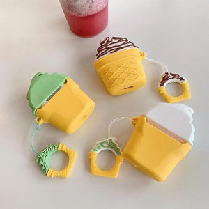 Pistachio Ice Cream Cone Premium AirPods Case Shock Proof Cover-iAccessorize