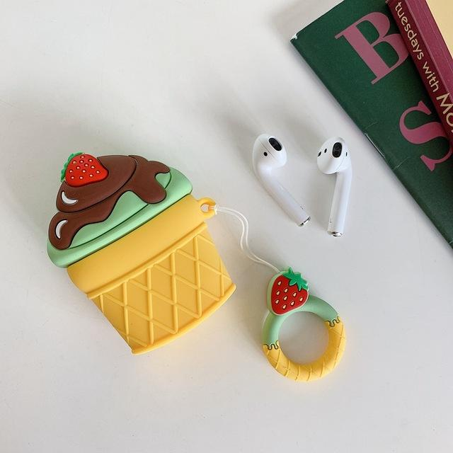 Pistachio w/ Chocolate Fudge Ice Cream Cone Premium AirPods Case Shock Proof Cover-iAccessorize