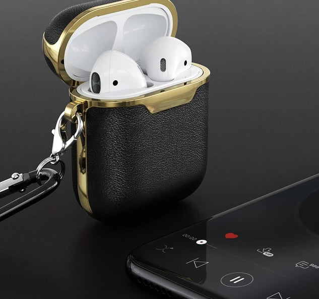 Black and Gold Leather AirPods Case Shock Proof Cover