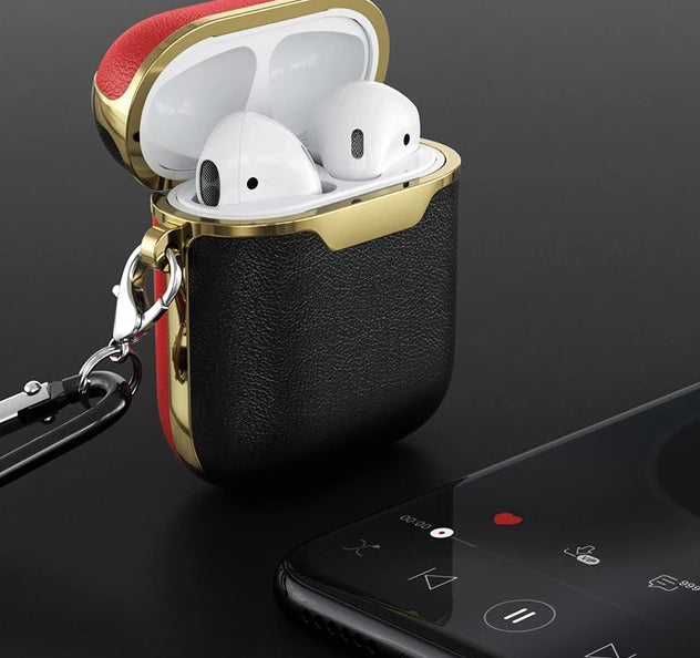 Black Gold and Red Leather AirPods Case Shock Proof Cover