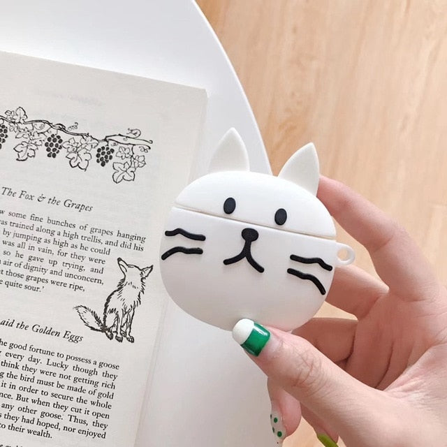 Cute White Cat Premium AirPods Case Shock Proof Cover