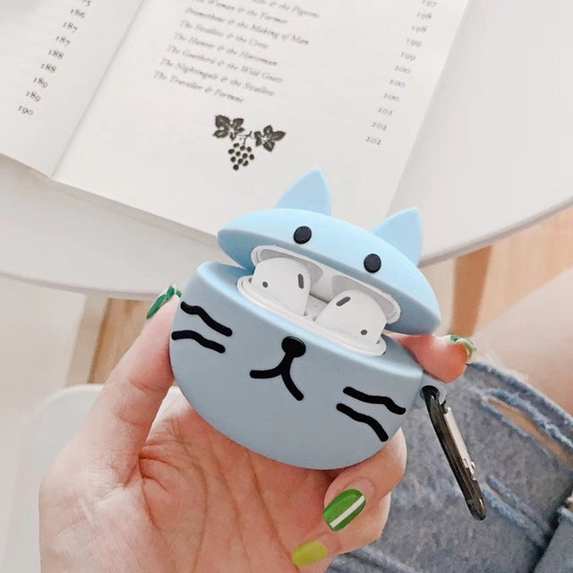 Cute Blue Cat Premium AirPods Case Shock Proof Cover