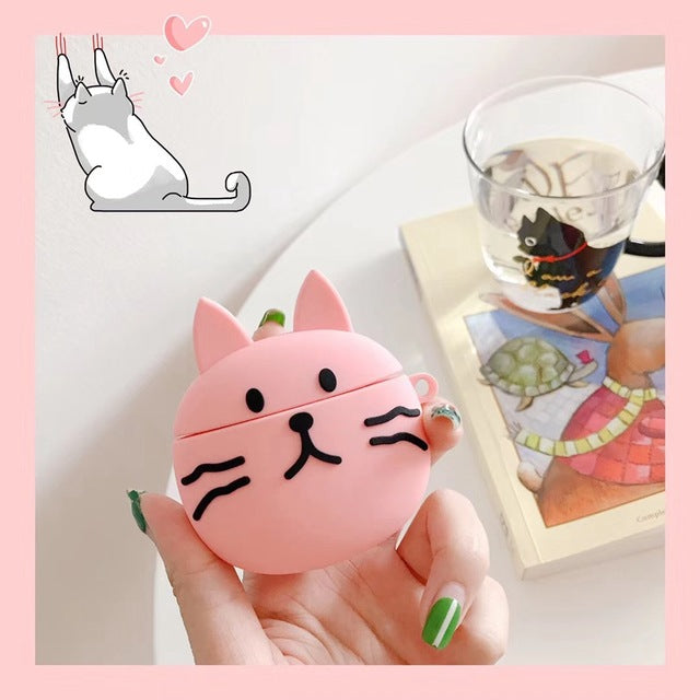 Cute Pink Cat Premium AirPods Case Shock Proof Cover
