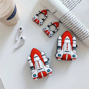 Cute Rocket Ship Premium AirPods Case Shock Proof Cover