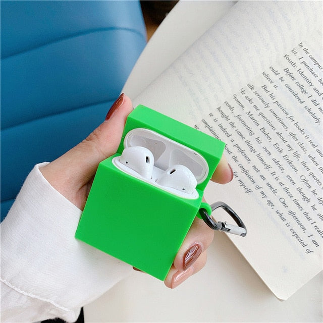 Candy Color Rectangular Airpods Case Shock Proof Cover