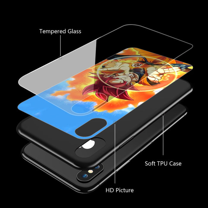 Dragon Ball Z | DBZ 'Goku Forms' Tempered Glass TPU Case for iPhone XS Max XR X 8 7 6 6S Plus 5 5S SE