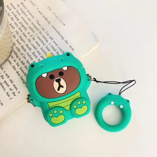 Bear in a Green Dinosaur Costume Premium AirPods Case