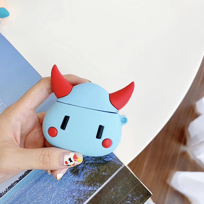 Cute Red Horned Monster Premium AirPods Case Shock Proof Cover