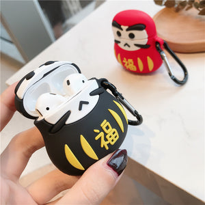 Japanese Good Luck Daruma Tumbler Doll Premium AirPods Case Shock Proof Cover