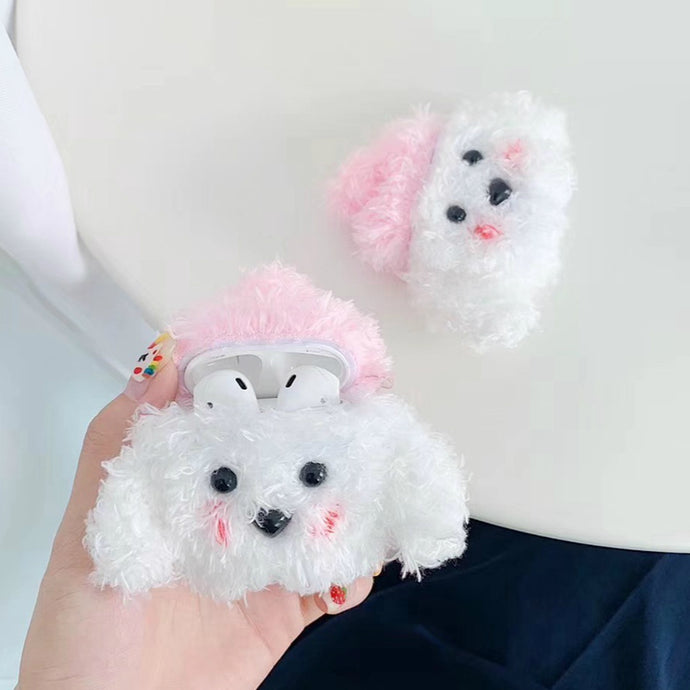 Cute Plush Furry White Doggy Premium AirPods Case Shock Proof Cover