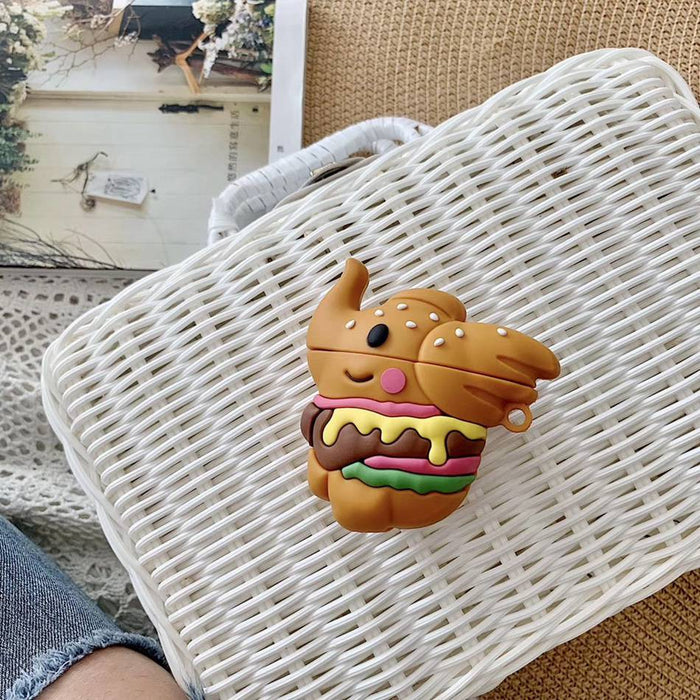 Cute Elephant Hamburger Premium AirPods Case Shock Proof Cover