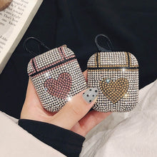 Load image into Gallery viewer, Rhinestone Heart AirPods Case Shock Proof Cover