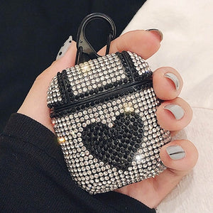 Rhinestone Heart AirPods Case Shock Proof Cover