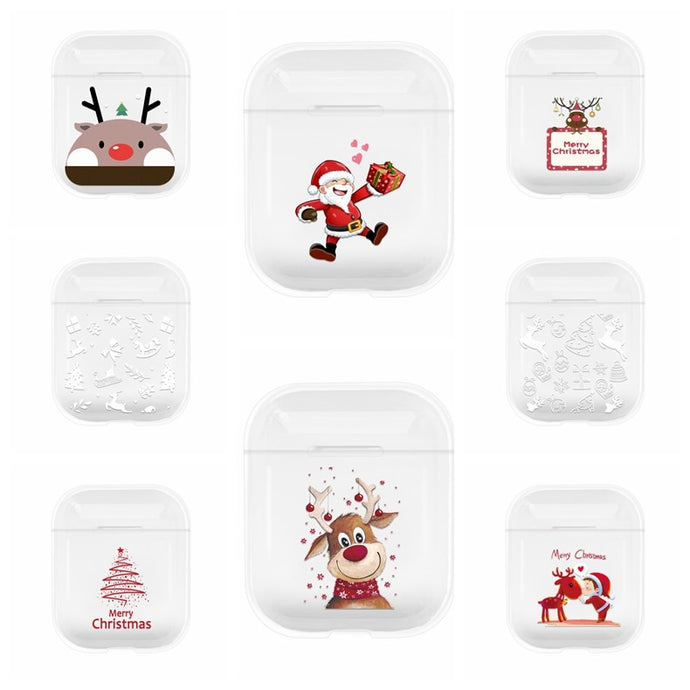 Cute Christmas Clear Acrylic AirPods Case Shock Proof Cover