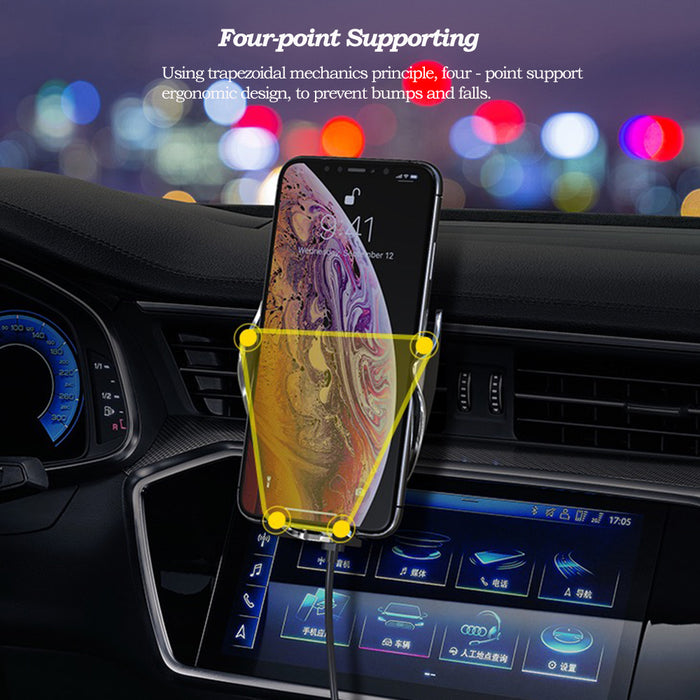 Automatic Clamping QC/QI 10W Fast Wireless Charging Iphone & Samsung Car Phone Mount Charger