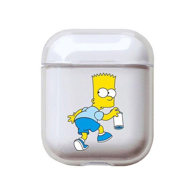The Simpsons 'Bart Tagging' Clear Acrylic AirPods Case Shock Proof Cover