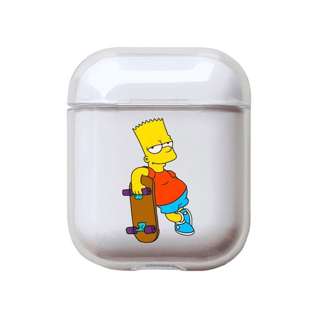 The Simpsons 'Bart Skating' Clear Acrylic AirPods Case Shock Proof Cover