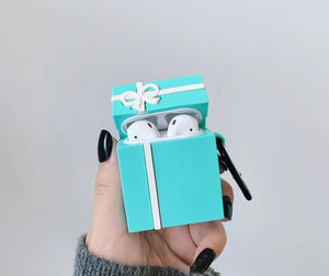 Cute Tiffany Blue Bow Gift Box Premium AirPods Case Shock Proof Cover