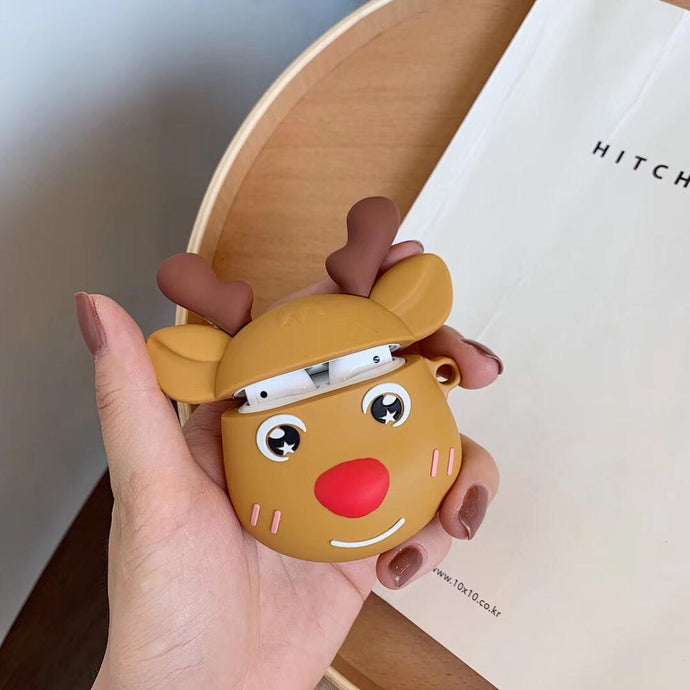 Happy Reindeer with Antlers Premium AirPods Case Shock Proof Cover