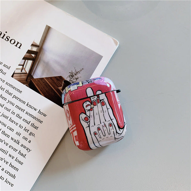 Fashion Retro Graffiti AirPods Case Shock Proof Cover