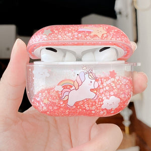 Glitter Liquid Quicksand Unicorn AirPods Pro Case Shock Proof Cover