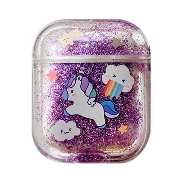 Glitter Liquid Quicksand Unicorn AirPods Case Shock Proof Cover