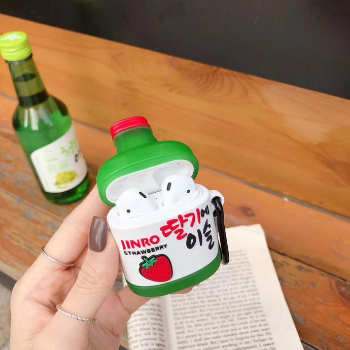 Korean Soju 'Strawberry' Premium AirPods Case Shock Proof Cover