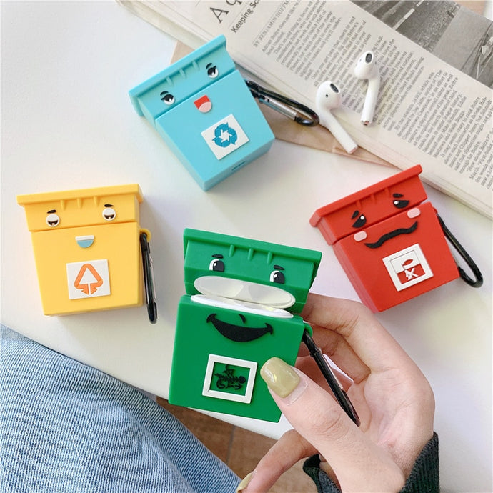 Cute Recycling Rubbish Bins AirPods Case Shock Proof Cover