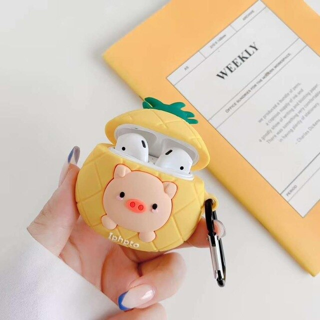 Pig in a Pineapple Premium AirPods Case Shock Proof Cover