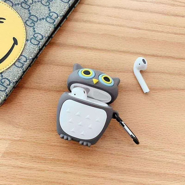 Cute Grey Owl Premium AirPods Case Shock Proof Cover