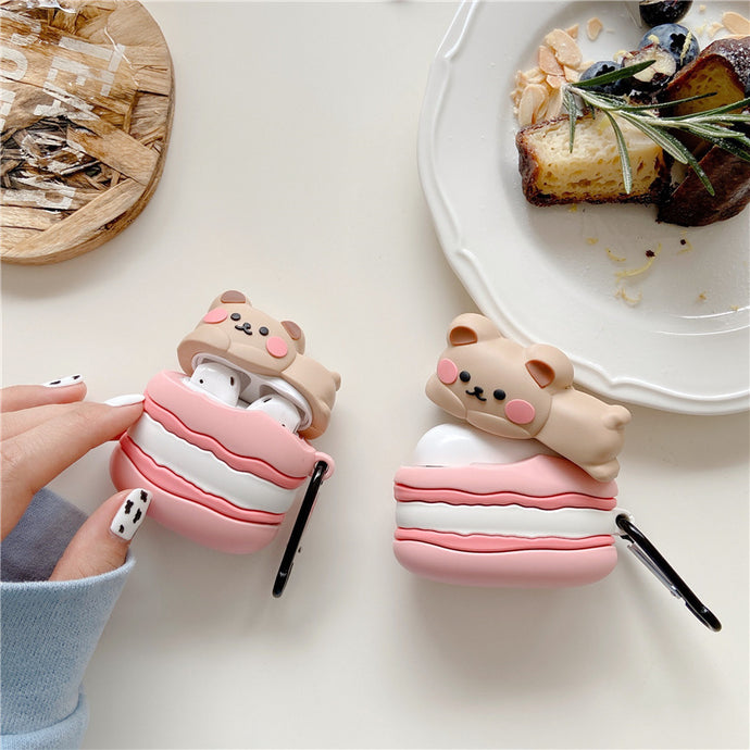 Cute Macaroon Bear Premium AirPods Case Shock Proof Cover