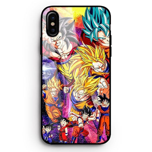 Dragon Ball Z | DBZ 'Vegeta vs Son Goku' Tempered Glass Case for Apple iPhone 6 6s 7 8 Plus X XS XR XS MAX