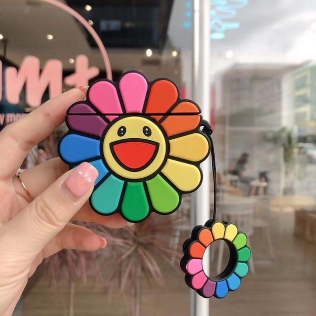 Rainbow Happy Sunflower Premium AirPods Case Shock Proof Cover-iAccessorize