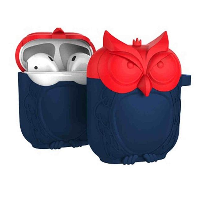 Red and Navy Owl AirPods Case Shock Proof Cover-iAccessorize