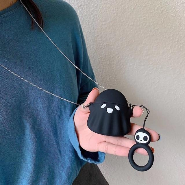 Spooky Ghost 'Black' Premium AirPods Case Shock Proof Cover-iAccessorize